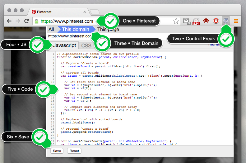 Steps to adding the jQuery code to Control Freak
